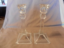 """Vintage Pair of Square Base Clear Crystal Candlesticks 8"""" Tall (M) - $74.24"""