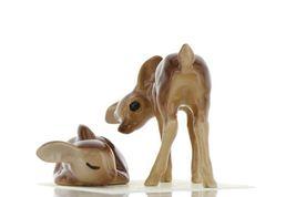 Hagen Renaker Miniature Deer Sister Doe & Sleeping Fawn Ceramic Figurine Set image 4