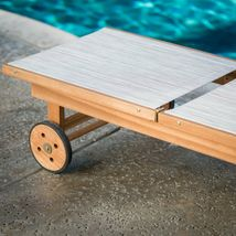 Natural Finish Eucalyptus Wood Sling Chaise Lounge Outdoor Pool Lounger w/Wheels image 3