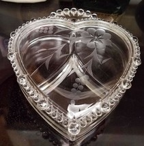 Valentine's Day Paden City Crystal Heart Shaped Covered 3 Part Dish Vintage - $23.38