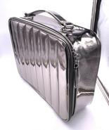 Lancome Luxury Metallic Chrome Beauty Travel Cosmetic Makeup Train Case ... - $18.71