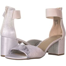 White Mountain Evie Criss Crossed Ankle Strap Sandals 270, Silver/Fabric, 10 US - $27.83
