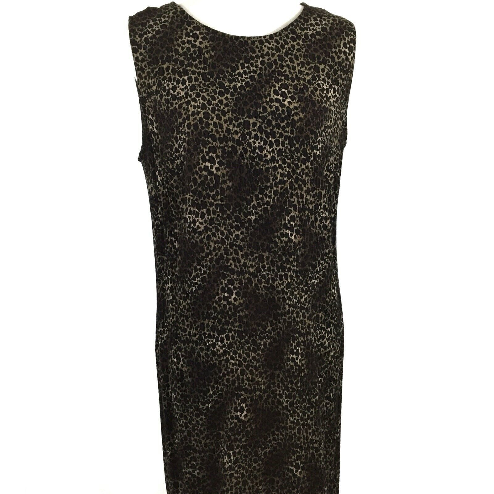 KSL Karin Stevens Sleeveless Maxi Dress and Jacket Size 14W Brown Animal Print image 8