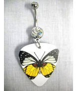 NEW BLACK WHITE YELLOW ORANGE BUTTERFLY GUITAR PICK 14g CLEAR CZ BELLY R... - $4.99