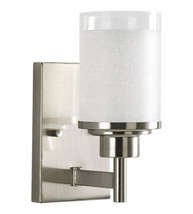 1-Light Bath Vanity Light Bathroom Lighting Brushed Nickel White Linen G... - ₹3,773.53 INR