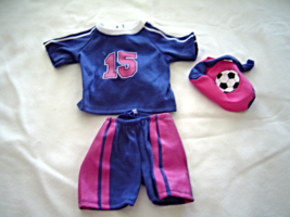 """Purple Shorts Shirt Pink Soccer Bag Fits 18"""" Doll American Girl Our Gene... - $9.99"""