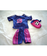 "Purple Shorts Shirt Pink Soccer Bag Fits 18"" Doll American Girl Our Gene... - $9.99"