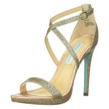 Betsey Johnson Women Cross Strap Sandals Andi US 6 Champagne Glitter - $18.50