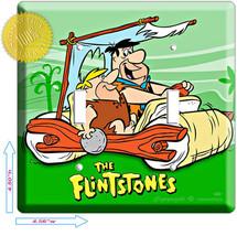 Flintstones Cave Men Foot Car Fred Barney Rubble Double Light Switch Wall Plate - $14.99