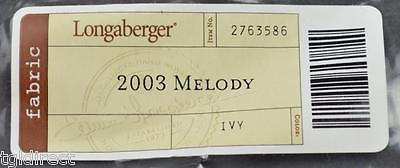 Longaberger 2003 Melody Basket Liner Ivy Collectible Accessory Home Decor Fabric