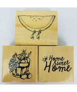 Anita's Home Sweet Home Rubber Stamp Set of 3 Fruit Basket Watermelon Ants - $24.74