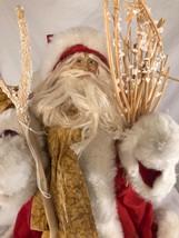 """Santa Tree Topper, tabletop decor ,Vintage wood staff unusual 15"""" - $22.97"""