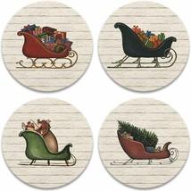 Christmas Village Coasters New Set of 4 CoasterStone Santa Sleigh Cork B... - $24.74