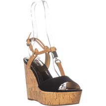 Coach Linden Platform T-Strap Sandals, Black/Ginger, 8 US - $61.43