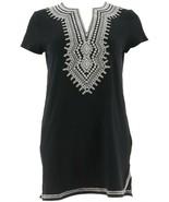 C Wonder Embroidered Split V-neck Short Slv Tunic Black XXS NEW A276524 - $44.53