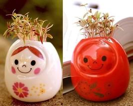 DIY Mini Ceramic Doll Green Grass Potted Plant Desktop  Home  Office Dec... - $6.87