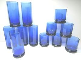 12 VTG Anchor Hocking Essex Cobalt Blue Octagon Rocks Tumbler Drinking G... - $78.87