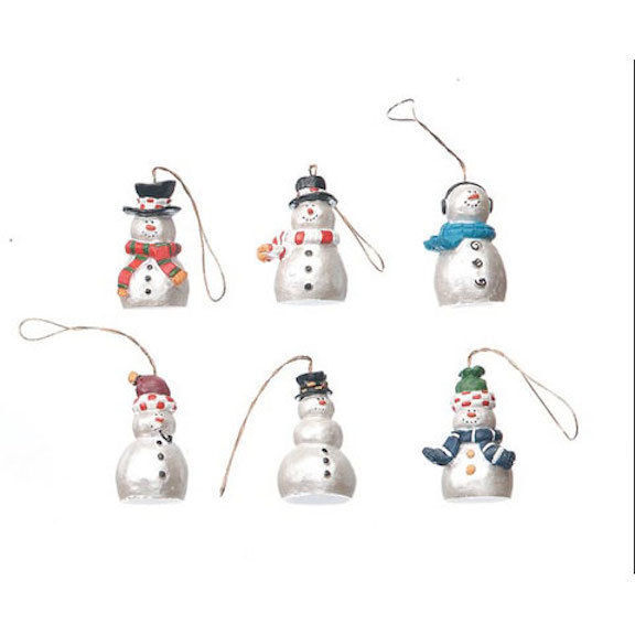 HOLIDAY CRAFT Resin Ornaments - Snowmen - Pearlized - 1.25 inches - 6pc #2449-55