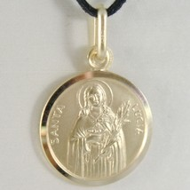 SOLID 18K YELLOW GOLD HOLY ST SAINT SANTA LUCIA LUCY ROUND MEDAL MADE IN ITALY  image 1