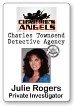 JULIE ROGERS CHARLIE'S ANGELS NAME BADGE TAG HALLOWEEN COSPLAY MAGNET BACK - $14.84
