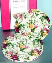 "Royal Albert Country Rose Chintz Set of 4 Salad Dessert Plates 7.75"" New In Box - $104.90"