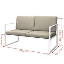 vidaXL Patio Garden Sofa Set 2 Armchairs 2-Seater Sofa Coffee Table w/ Cushions image 7