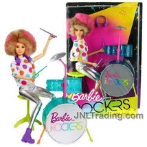 "NEW 2017 Barbie & The Rockers 12"" Doll Caucasian Afro Hairstyle DRUMMER+... - $39.99"
