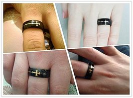 Titanium Ring w/Cross Charm - One Item w/Random Color and Design (silver-plat... image 5