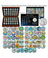 1999-2009 Complete COLORIZED State Quarters 56-Coin Set in Cherry Wood S... - $130.86