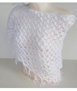White Fantasy Shawl  Handmade Crochet Knit Neckwarmer Wrap Scarf Stole P... - $19.31
