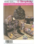 Simplicity 4542 Knitting & Crochet Organizers Tote Backpack Fanny Pack B... - $11.99