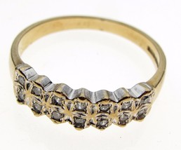 Vintage 9 Carat Gold 14 Stone Diamond 10 point Half Eternity Ring Birmingham HM - $86.30
