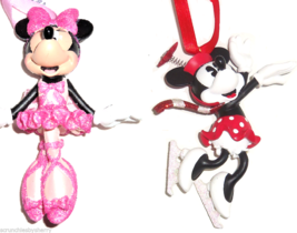 Disney Minnie Mouse Christmas Ornament Ballerina Ice Skater Theme Parks - $39.95