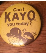 "Vintage Pin Back Button  Boxing "" Can I K A Y O you today"" Yellow Brown ... - $59.39"