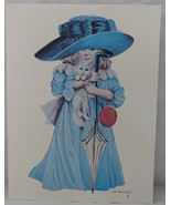 """Anne Hershenburgh Litho Little Girl Dress Up Blue Kitten Signed 12 1/2"""" ... - $29.69"""