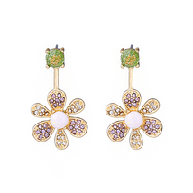 Gold Color Crystal Flowers Cute Fashion Drop Earrings For Girls Holiday  - $7.27