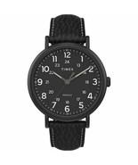 Timex Weekender XL 43mm Black Leather Strap Round Analog Men's Watch TW2... - $49.49