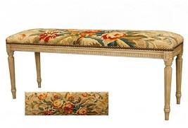 Bench Aubusson Antique Brass Nail Heads Hardwood Wool Trim - £1,054.26 GBP