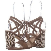 Nine West Bizzy Lace-Up Dress Sandals 581, Dark Natural, 9.5 US - $31.67