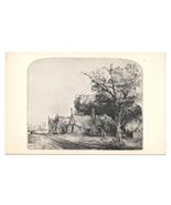 Rembrandt Etching Landscape Gabled Cottages National Gallery of Art DC P... - $6.69
