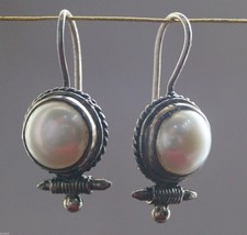 Earring Round Shell Pearl 925 Sterling Silver Handmade 777 - $18.69