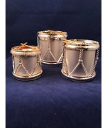 Holiday Collection Godinger Satin Silver Drum Candle Stick Holders 3 Tab... - $22.76