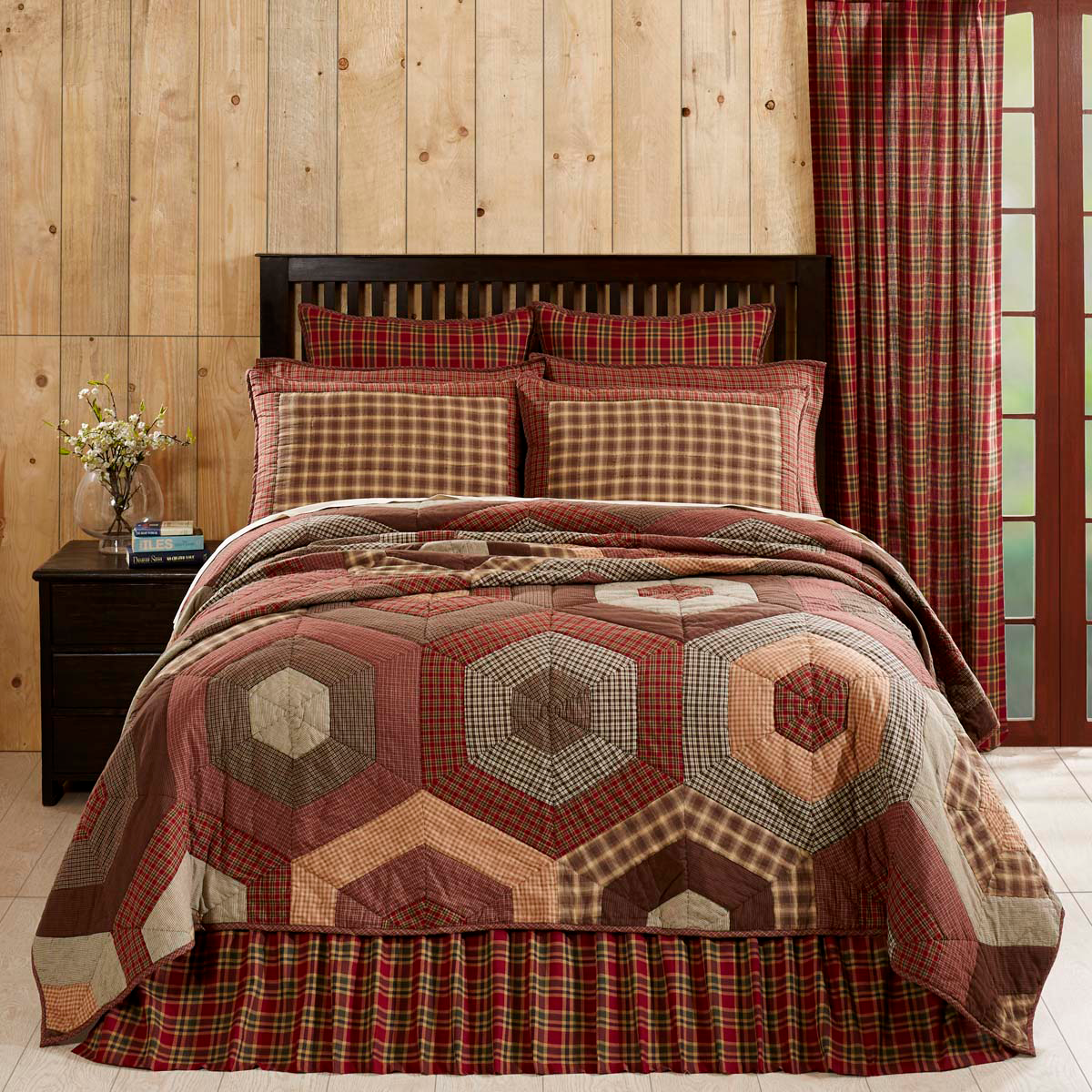 3-pc King GRAHAM Quilt and Shams Set -Crimson/Army Green/Chestnut/Biscotti - VHC