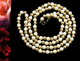 "Faux Pearl Bead & Goldtone Twist Beaded Necklace Vintage Single Strand 30"" - $18.99"