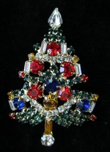 MULTI COLORED RHINESTONE CHRISTMAS TREE BROOCH PIN GARLAND AND CANDLES - $35.99