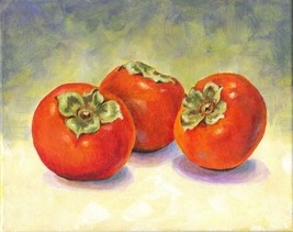 "Akimova: PERSIMMONS,  still life, fruits, acrylic, 10""x 8"", food - $35.00"