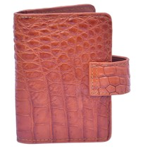 Lovely Fuzzy Wuzzy Brown Button Closure Precise Crocodile Leather Card Wallet - $176.39
