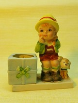 Vintage J.S.N.Y. Ceramic Porcelain Red Hood & Cat Figurine Candle Holder... - $9.95