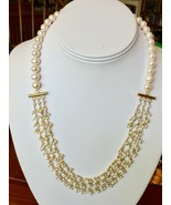 """White Pearl & Seed Pearl Necklace Gold over Sterling Silver 21 1/2"""" Fres... - $98.95"""