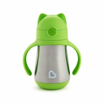 Munchkin Handle Sippy Cup Green Cat Insulated Stainless Steel NEW - $9.89